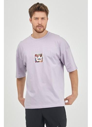 XHAN Lila Önür & Arkası Baskılı Oversize T-Shirt 1Kxe1-44629-26 Lila